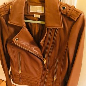 Luggage Brown Michael Kors Leather Jacket